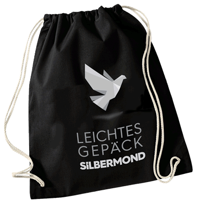Silbermond Leichtes Gepäck Turnbeutel Tasche schwarz