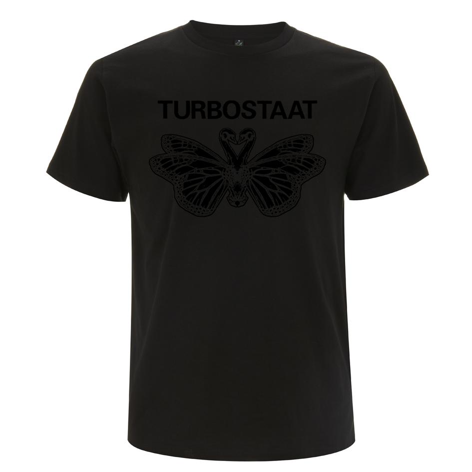 Turbostaat Schmetterschwan schwarz auf schwarz T-Shirt BIO schwarz